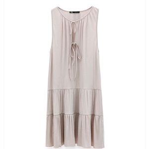 Zara sleeveless dress with tie & flounced hem